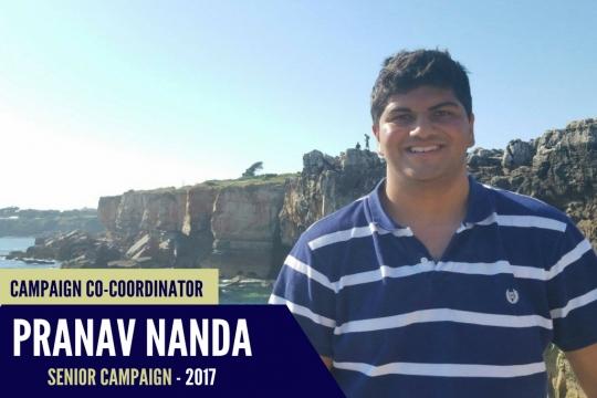 Pranav Nanda, 2017 Senior Class Gift Coordinator